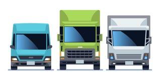 Uppsättning för främre sikt för lastbil Stads- bilar för stadsmedelmodell för leverans Vägtrafik som kör den plana vektorillustra stock illustrationer
