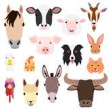 Uppsättning för framsidor för lantgårddjur royaltyfri illustrationer