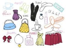 Uppsättning för franskastilsymboler Arkivbild