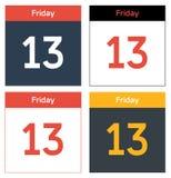 Uppsättning för fredag 13th kalenderark Royaltyfri Bild