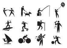 Uppsättning för fritidsaktivitetvektorsymbol Arkivbild