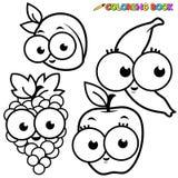 Uppsättning för frukter för sida för färgläggningbok Arkivbild