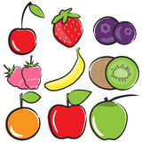 Uppsättning för fruktvektorsymbol Arkivfoton