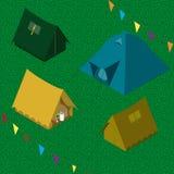 Uppsättning för fyra campa tält Arkivbild