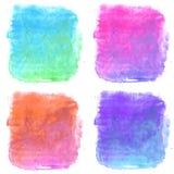 Uppsättning för fyra fyrkanter för abstrakt vattenfärg färgrik för bakgrund Arkivbild