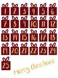 Uppsättning för gåvaask med för nummervektor för guld- folie illustrationen symboler för element för jul för adventkalenderteckna vektor illustrationer