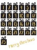 Uppsättning för gåvaask med för nummervektor för guld- folie uppsättningen stock illustrationer