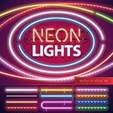 Uppsättning för garnering för neonljus royaltyfri illustrationer