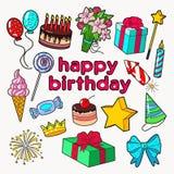 Uppsättning för garnering för parti för lycklig födelsedag med ballonger, gåvan och sötsaker royaltyfri illustrationer