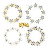 Uppsättning för garnering för stjärnarambakgrund Knapphändig hand dragen vektorillustration stock illustrationer
