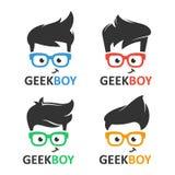 Uppsättning för geek- eller nerdlogovektor stock illustrationer