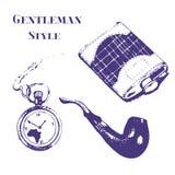 Uppsättning för Getleman tappningmaterial i grungestil Flaska klocka, tobakrör, rova Royaltyfria Bilder
