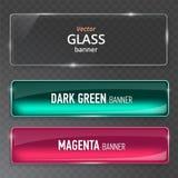 Uppsättning för Glass plattor Glass baner för vektor på genomskinlig bakgrund stock illustrationer