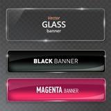 Uppsättning för Glass plattor Glass baner för vektor på genomskinlig bakgrund vektor illustrationer
