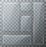 Uppsättning för glass plattor för vektor modern genomskinlig stock illustrationer