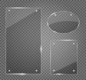 Uppsättning för Glass plattor Glass baner för vektor på genomskinlig bakgrund Royaltyfri Fotografi