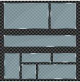 Uppsättning för Glass plattor Realistiska moderna exponeringsglasramar och baner på genomskinlig bakgrund vektor royaltyfri illustrationer