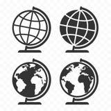 Uppsättning för Globus rengöringsduksymbol Symboler för planetjordjordklot stock illustrationer