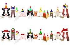 Uppsättning för gräns för partilantgårddjur royaltyfri illustrationer