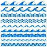 Uppsättning för gränser för vektor för havsvattenvågor sömlös stock illustrationer
