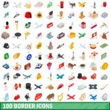 uppsättning för 100 gränssymboler, isometrisk stil 3d vektor illustrationer