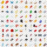 uppsättning för 100 gränssymboler, isometrisk stil 3d stock illustrationer