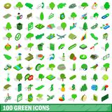 uppsättning för 100 grön symboler, isometrisk stil 3d stock illustrationer