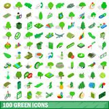 uppsättning för 100 grön symboler, isometrisk stil 3d vektor illustrationer