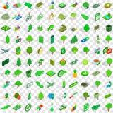 uppsättning för 100 grön symboler, isometrisk stil 3d Royaltyfri Bild