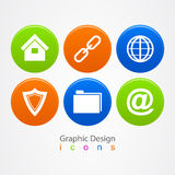 Uppsättning för grafisk design av affärssymbolsknappar Royaltyfri Foto