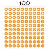 Uppsättning för 100 grundläggande pilteckensymboler Royaltyfria Foton