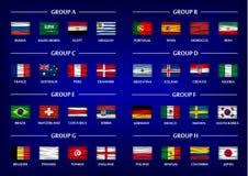Uppsättning för grupp för fotbollkopplag Realistiska krabba nationsflaggor på lutningblått färgar bakgrund Vektor för internation Fotografering för Bildbyråer