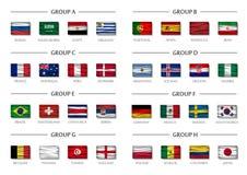 Uppsättning för grupp för fotbollkopplag Realistiska krabba nationsflaggor Vektor för internationell världsmästerskapturnering 20 Arkivbild