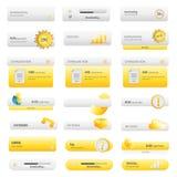 Uppsättning för guld- knappar för affär Royaltyfria Bilder