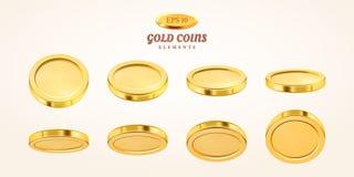 Uppsättning för guld- mynt 3d för vektor som tom isoleras på bakgrund i olika positioner coins guld- regn Falla eller flyga royaltyfri illustrationer