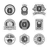 Uppsättning för gummihjuletikettsymbol Arkivfoton