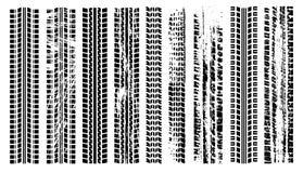 Uppsättning för gummihjulslingakontur Avtryck av bilen Grungegummihjulspår Spår av automatiskt gummi vektor illustrationer