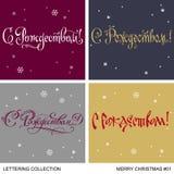 Uppsättning för hälsningar för jul och för nytt år handgjord Arkivfoto