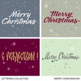 Uppsättning för hälsningar för jul och för nytt år handgjord Royaltyfri Foto