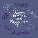Uppsättning för hälsningar för jul och för nytt år handgjord Royaltyfria Bilder