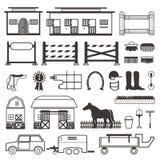 Uppsättning för hästridning i svartvitt Arkivbild