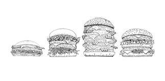 Uppsättning för hamburgare för snabbmatsamling ny vektor illustrationer