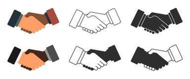 Uppsättning för handskakningillustrationsymbol Royaltyfri Foto
