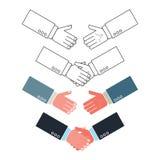Uppsättning för handskakningvektorsymbol Arkivfoto