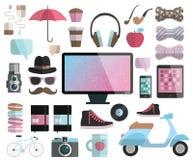 Uppsättning för Hipsterdesignbeståndsdelar. Arkivbilder