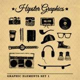 Uppsättning 3 för Hipstertillbehördiagram Arkivfoton