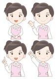 Uppsättning för hjälpredakvinnauttryck vektor illustrationer