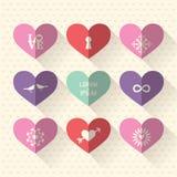 Uppsättning för hjärtasymbolsymbol med förälskelse- och bröllopbegrepp Arkivfoton