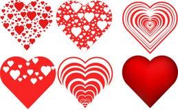 Uppsättning för hjärtavalentinsymbol Arkivbild