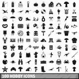 uppsättning för 100 hobbysymboler, enkel stil Royaltyfri Bild